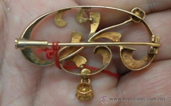 Joyeria: Antiguo Broche. Siglo XIX. Oro de 18 K - Foto 6 - 37859962