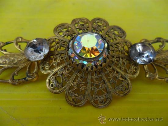 Joyeria: broche antiguo dorado y cristales - Foto 2 - 38731490