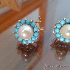 Schmuck - Precioso par de pendientes de oro, con perla cultivada y turquesas tratadas - 38984392