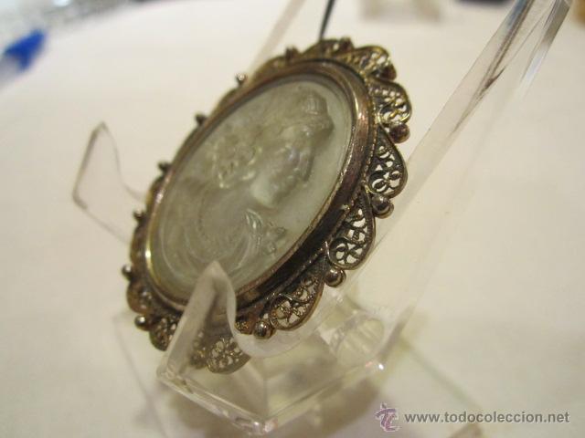 Joyeria: Antiguo camafeo en plata mallorquina, con busto de mujer en posible cristal. 4 x 3,5 cms. - Foto 2 - 40332155