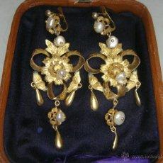 Joyeria - Preciosos Pendientes Isabelinos. S.XIX. Oro 18 k y Perlas Aljorfas. - 41051354