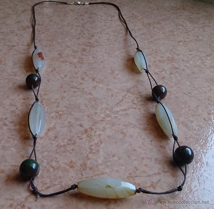 Joyeria: Collar moderno de cuentas de ágata natural pulida, cordón y cierre en plata de ley contrastada 925 - Foto 2 - 41371590