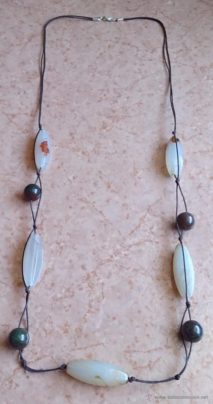 Joyeria: Collar moderno de cuentas de ágata natural pulida, cordón y cierre en plata de ley contrastada 925 - Foto 12 - 41371590