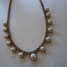 Joyeria - Collar gargantilla chapado en oro perlas y strass . 20 cm años 70s - 42776285