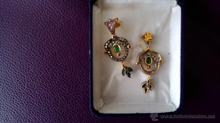 Joyeria: pendientes isabelinos con piedras preciosas - Foto 2 - 42881265