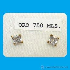 Joyeria: PAR DE PENDIENTES CUADRADOS CON CIRCONITAS DE 5X5 MM. Y ORO DE 1ª.LEY 18 KILATES. Lote 240150955