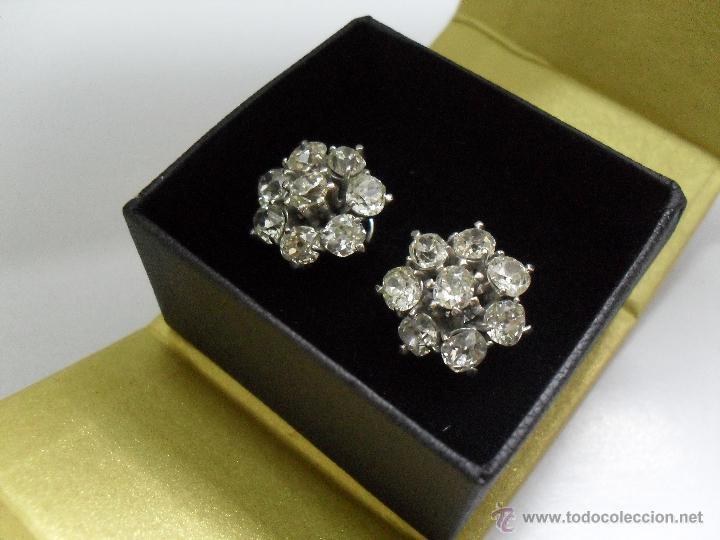 Joyeria: pendientes antiguos oro blanco y diamantes - Foto 2 - 43703448