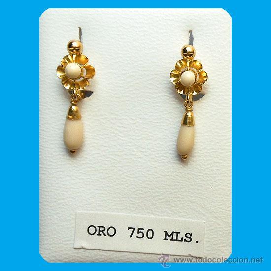 831620ad89b9 Par de pendientes en coral blanco y oro 1ª.ley - Vendido en Venta ...