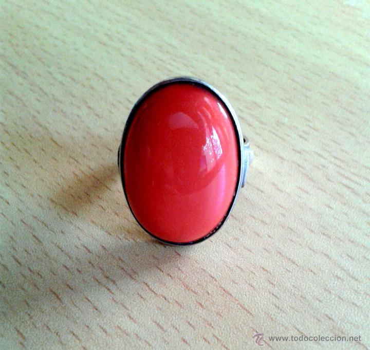 Joyeria: anillo con piedra naranja plata de ley (925 milésimas) - Foto 2 - 45627934