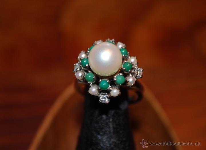 Joyeria: Magnífica sortija de oro blanco, perlas, brillantes y turquesas (ver fotos adicionales) - Foto 2 - 46238438