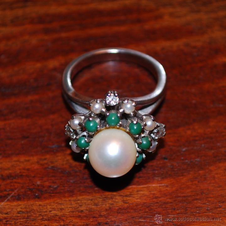 Joyeria: Magnífica sortija de oro blanco, perlas, brillantes y turquesas (ver fotos adicionales) - Foto 3 - 46238438