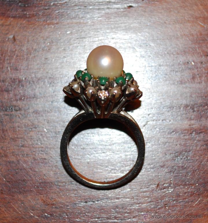 Joyeria: Magnífica sortija de oro blanco, perlas, brillantes y turquesas (ver fotos adicionales) - Foto 4 - 46238438