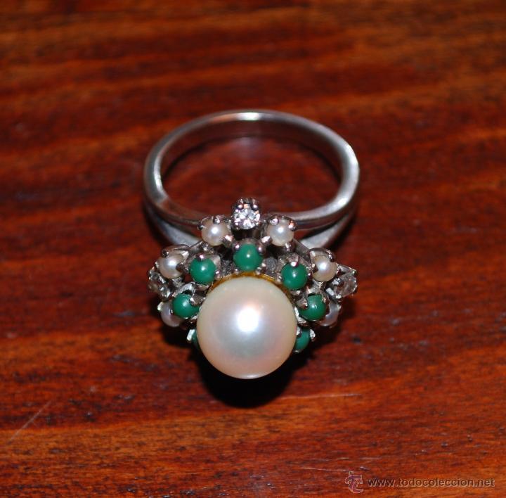Joyeria: Magnífica sortija de oro blanco, perlas, brillantes y turquesas (ver fotos adicionales) - Foto 5 - 46238438