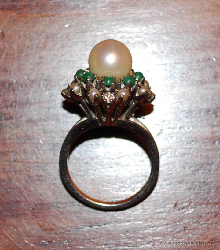 Joyeria: Magnífica sortija de oro blanco, perlas, brillantes y turquesas (ver fotos adicionales) - Foto 6 - 46238438
