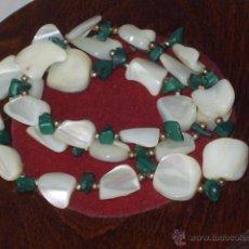 Jewelry - VINTAGE,COLLAR DE MALAQUITA Y NACAR O MADRE PERLA. - 48366167
