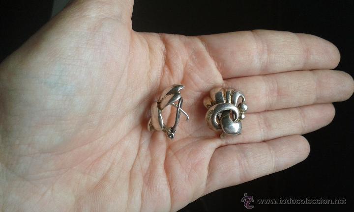 Joyeria: Antiguos pendientes en plata 925 con curiosa forma de lazo - Foto 7 - 49846762