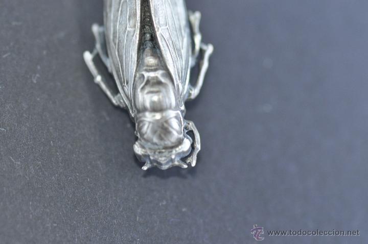 Joyeria: antigua y original chicharra realizada a mano en plata de ley de 1950 aprox. - Foto 4 - 52168991