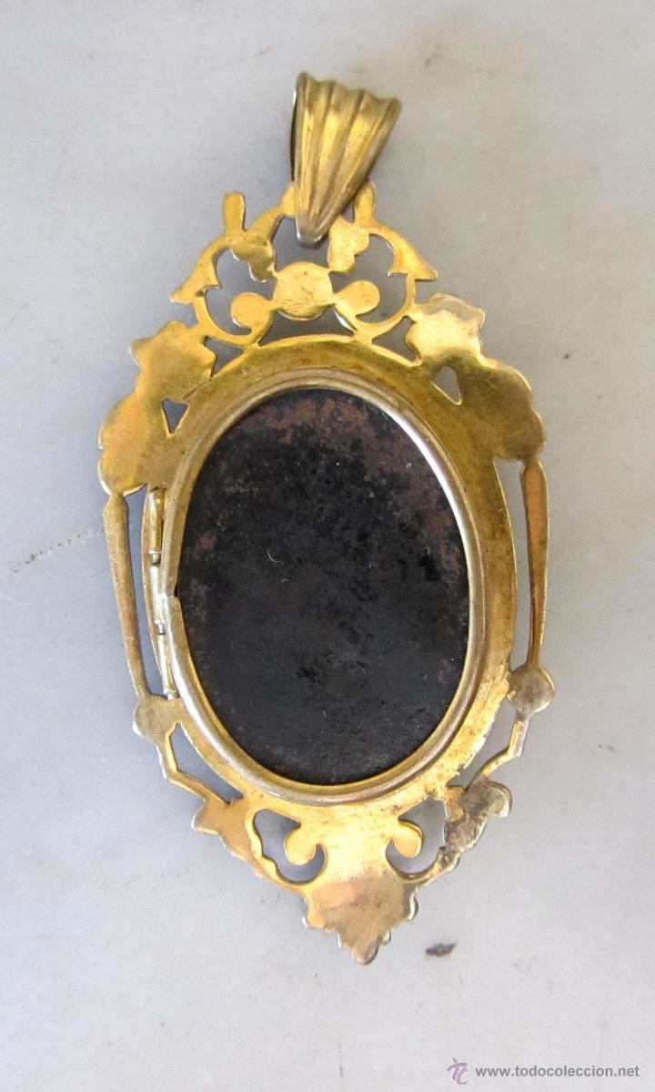 Joyeria: colgante guardapelo con baño de oro camafeo siglo XIX - Foto 2 - 52803462