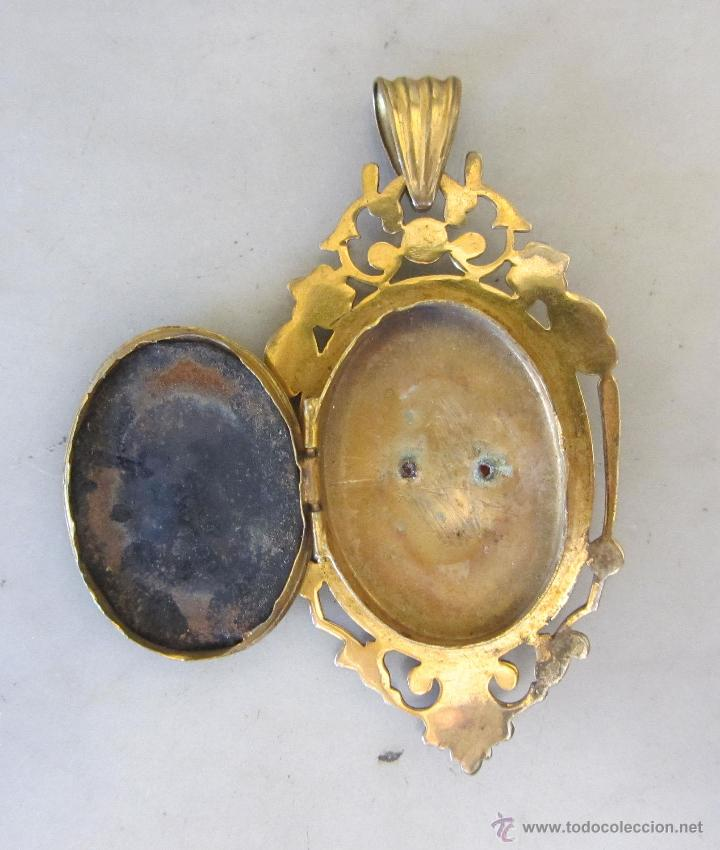 Joyeria: colgante guardapelo con baño de oro camafeo siglo XIX - Foto 3 - 52803462