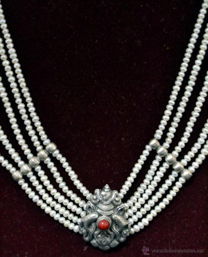 Joyeria: * Elegante Antiguo Collar 5 vueltas de Perlas con Medallon central en Plata * 53cm * - Foto 2 - 52868150