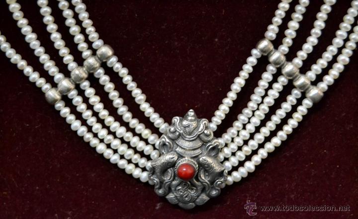 Joyeria: * Elegante Antiguo Collar 5 vueltas de Perlas con Medallon central en Plata * 53cm * - Foto 3 - 52868150