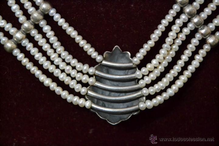 Joyeria: * Elegante Antiguo Collar 5 vueltas de Perlas con Medallon central en Plata * 53cm * - Foto 4 - 52868150