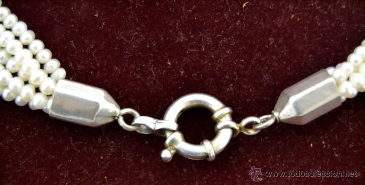 Joyeria: * Elegante Antiguo Collar 5 vueltas de Perlas con Medallon central en Plata * 53cm * - Foto 5 - 52868150