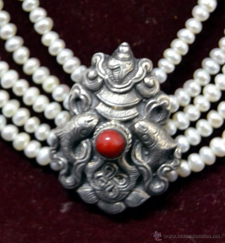 Joyeria: * Elegante Antiguo Collar 5 vueltas de Perlas con Medallon central en Plata * 53cm * - Foto 6 - 52868150
