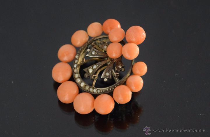 Joyeria: LIQUIDACION, antiguo Broche S. XIX con cuentas coral y perla fina natural en oro - Foto 2 - 53043963