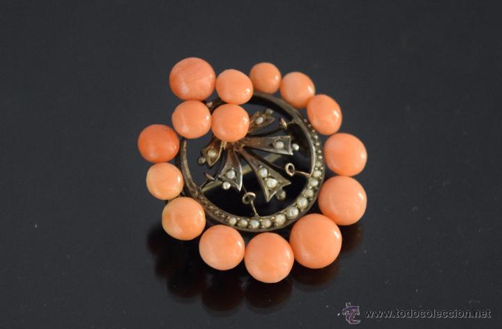 Joyeria: LIQUIDACION, antiguo Broche S. XIX con cuentas coral y perla fina natural en oro - Foto 4 - 53043963