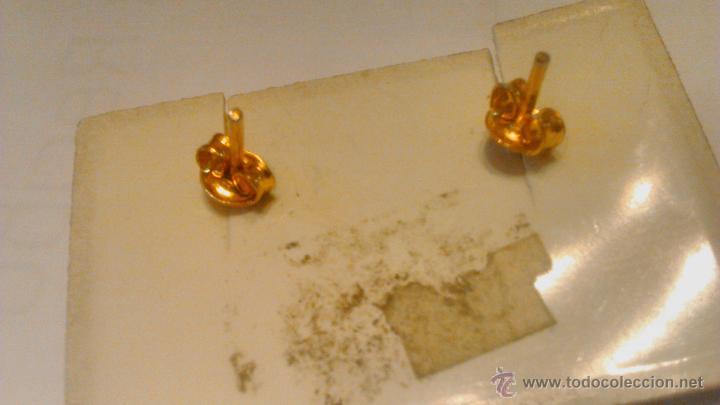 Joyeria: Antiguos pendientes de metal dorado lacado en negro con dibujo gravado.Años 80 - Foto 3 - 53104794