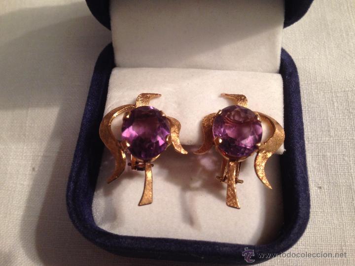Joyeria: Antiguos pendientes de oro y amatistas. Antique golden earrings with amatists. - Foto 6 - 53108465