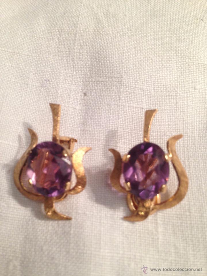 Joyeria: Antiguos pendientes de oro y amatistas. Antique golden earrings with amatists. - Foto 3 - 53108465