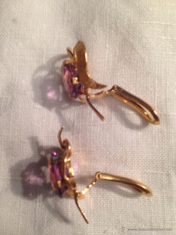 Joyeria: Antiguos pendientes de oro y amatistas. Antique golden earrings with amatists. - Foto 5 - 53108465