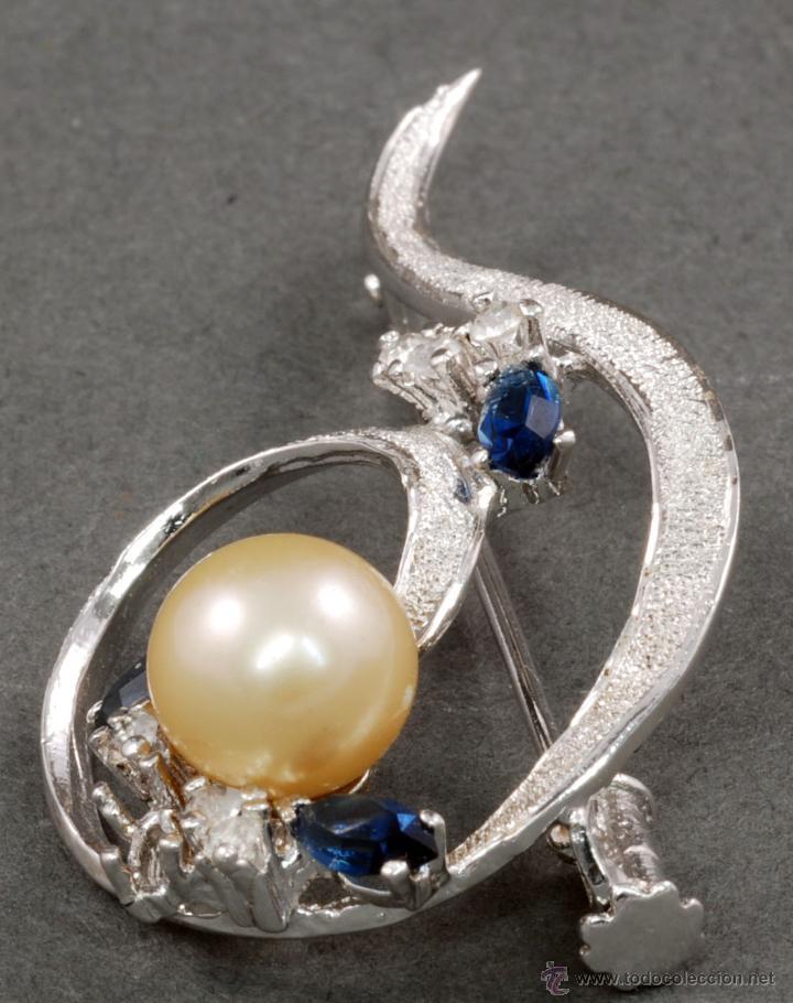 Joyeria: Broche plata rodiada con perla y piedras S XX - Foto 2 - 53861006