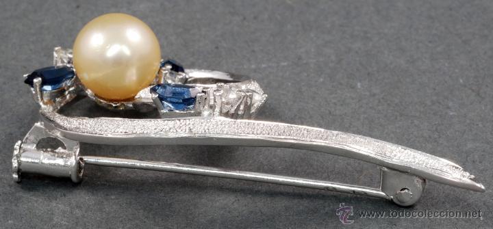 Joyeria: Broche plata rodiada con perla y piedras S XX - Foto 3 - 53861006