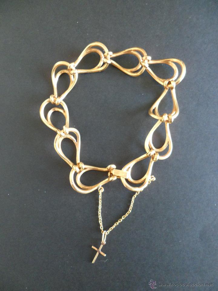 Joyeria: Bonita pulsera vintage de Oro Macizo de 18 Kts con cadenita de seguridad para la pulsera. - Foto 2 - 54041474
