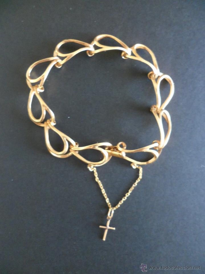 Joyeria: Bonita pulsera vintage de Oro Macizo de 18 Kts con cadenita de seguridad para la pulsera. - Foto 3 - 54041474