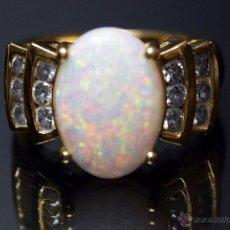 Joyeria - LIQUIDACION, sortija Chevalier, hombre-mujer, gran Opalo de Fuego 5,20ct y diamantes 0,60ct en oro - 54208720