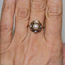 Jewelry - JOY555 SORTIJA. PLATA DORADA, PERLA DE IMITACIÓN Y CRISTAL. ESPAÑA. PRINC. S. XX - 71918301