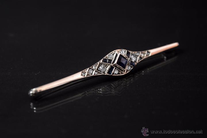 Joyeria: LIQUIDACION, antiguo Broche Art Decó con 2,30ct zafiros en Platino - Foto 2 - 54209174