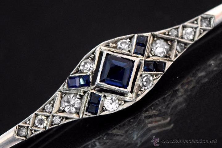 Joyeria: LIQUIDACION, antiguo Broche Art Decó con 2,30ct zafiros en Platino - Foto 4 - 54209174