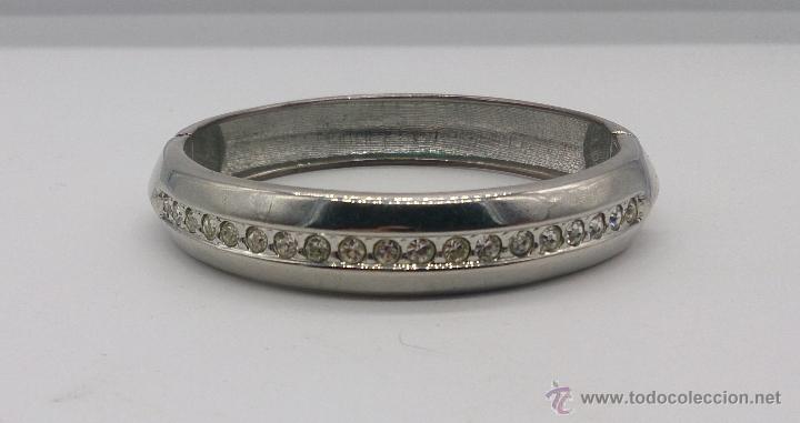 Joyeria: Brazalete vintage cromado en plata con circonitas . - Foto 2 - 54996828