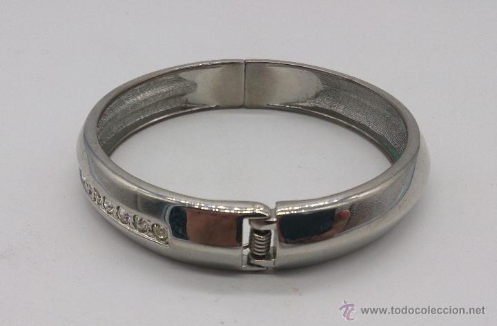 Joyeria: Brazalete vintage cromado en plata con circonitas . - Foto 3 - 54996828