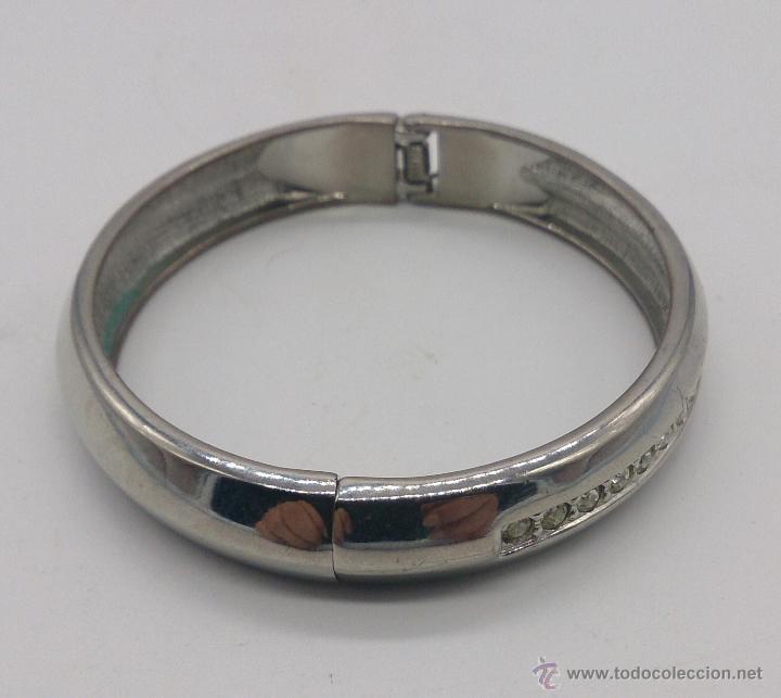 Joyeria: Brazalete vintage cromado en plata con circonitas . - Foto 5 - 54996828