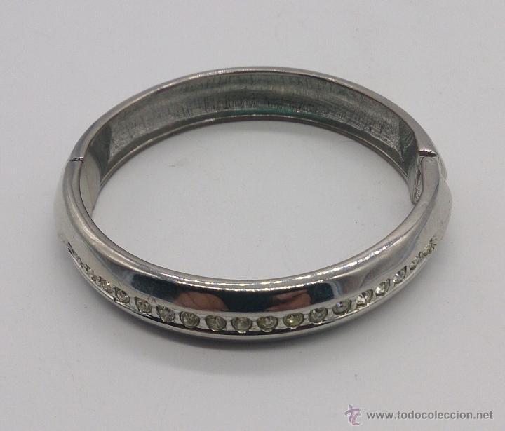 Joyeria: Brazalete vintage cromado en plata con circonitas . - Foto 6 - 54996828