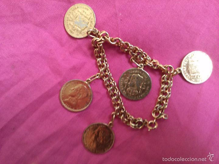 3dca4e2d76a5 Antigua pulsera de plata con baño de oro. moned - Vendido en Venta ...