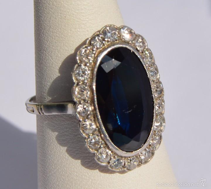 1db933378ec0 antiguo anillo de platino zafiro natural y un t - Comprar Anillos ...