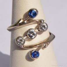 Joyeria: HERMOSO ANILLO PLATINO 3 DIAMANTES 0,29CT - ZAFIRO 0,2CT / PLATINUM RING 3 BEAUTIFUL DIAMONDS . Lote 56933865