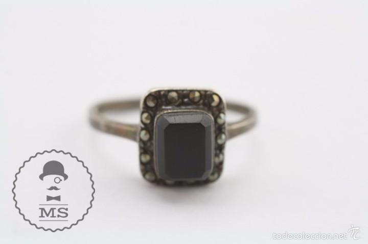 Joyeria: Anillo de Plata - Piedra Preciosa Color Negro Azabache e Incrustaciones - Diám Interior 19 Mm - Foto 2 - 57503791